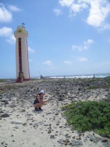 Lauren Bonee collects data on the island of Bonaire.