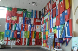 Flags representing the countries where ORNL scientists are from.