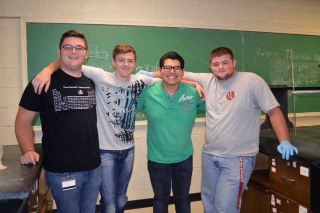 Cameron Moore (the author), Tyler Lee, Alan Miramontes-Flores (peer mentor), and Ben Galloway pretend to like each other for a quick photo